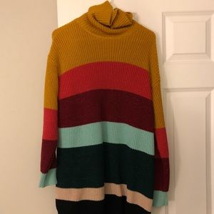 Multi-colored Turtleneck sweater dress